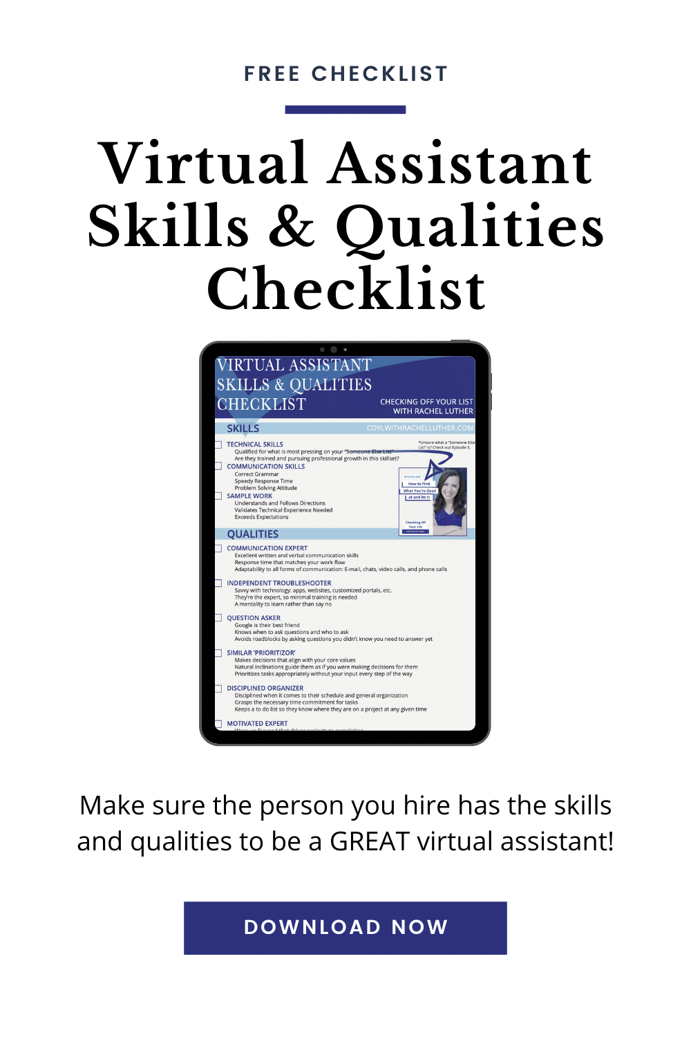 virtual assistant skills and qualities checklist